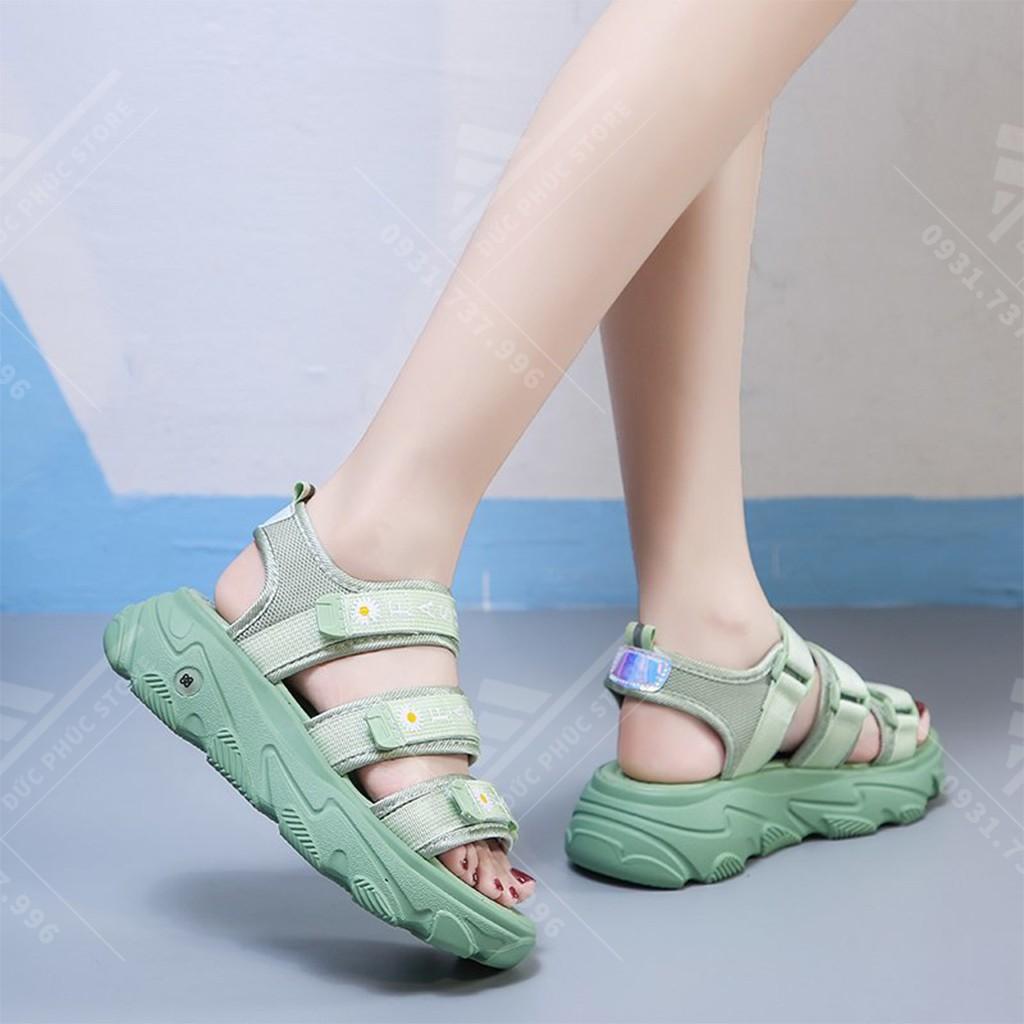 Sandal nữ hoa cúc, dép quai hậu 3 quai đế cao cực đẹp Mẫu mới