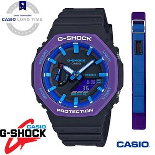 Đồng Hồ Nam Casio G Shock GA-2100THS-1A - Nam - Dây Nhựa Màu Đen - Viền Mặt Màu Tím - Bảo Hành 5 Năm - Tặng Dây Cao Cấp thumbnail