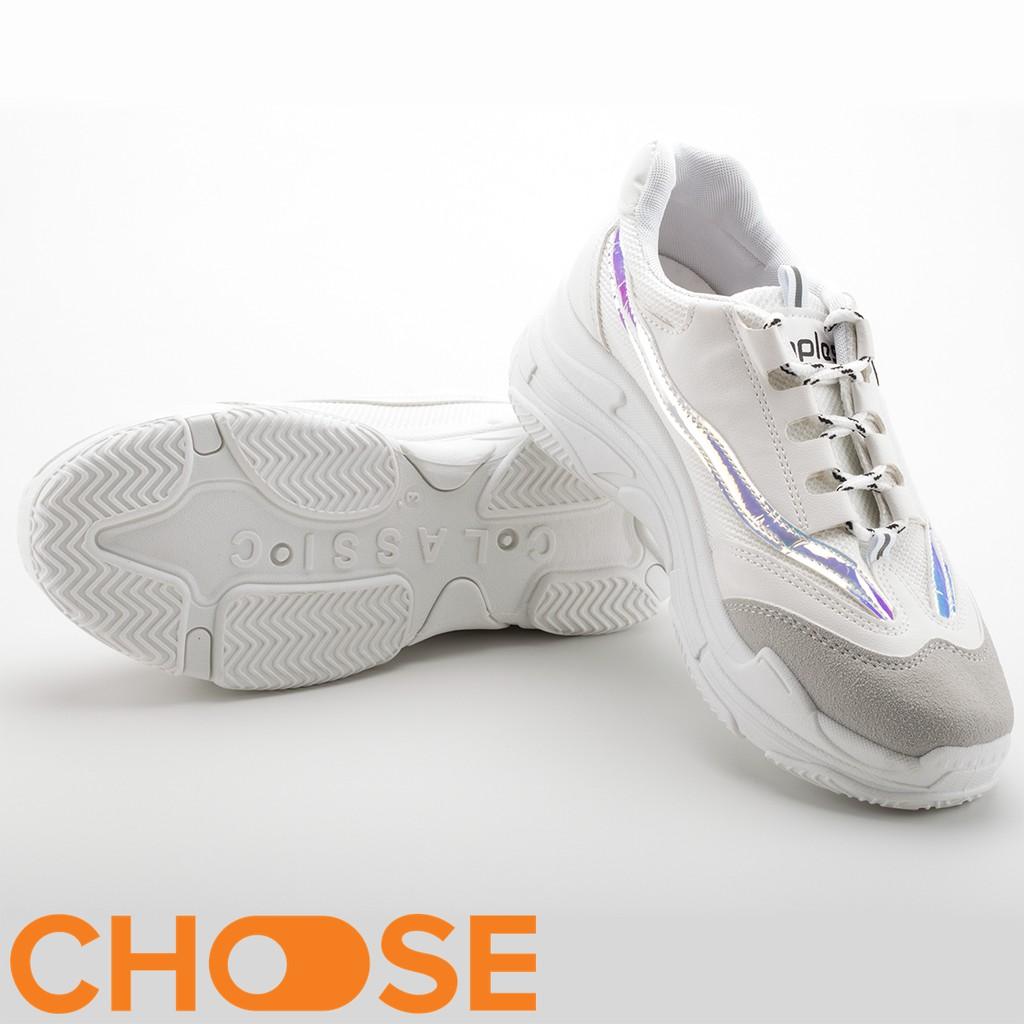 Giày Nữ Sneaker Choose Nữ Giày Thể Thao Độn Đế ULZANG Tăng Chiều Cao Viền Màu Cá Tính G29K1