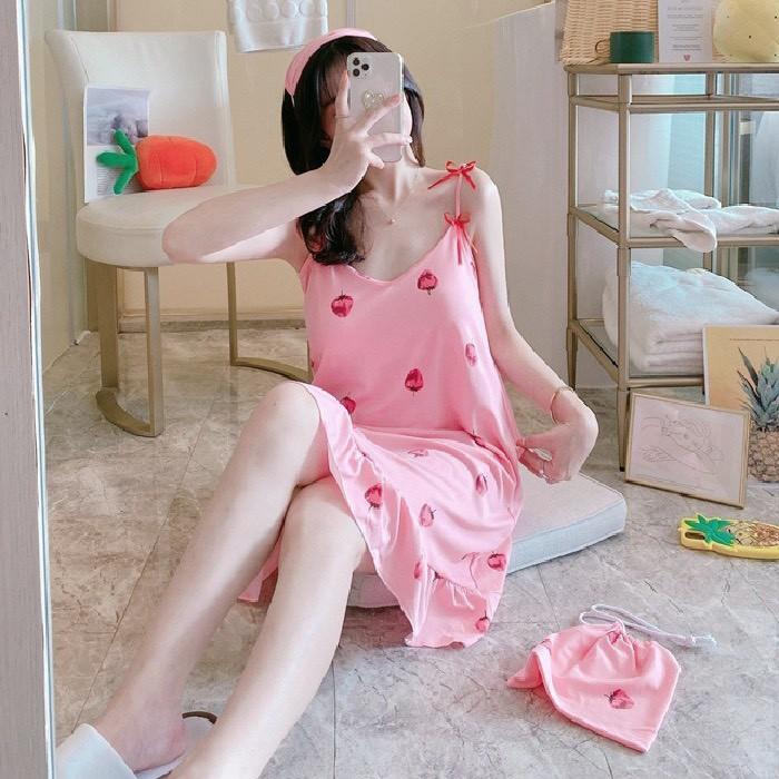 Váy ngủ 2 dây đầm ngủ thun mềm mịn, thoáng mát [VN01