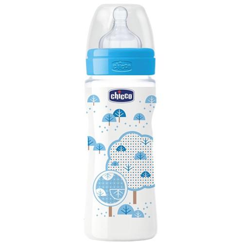 Bình sữa Wellbeing núm Silicon dòng chảy nhanh Mây xanh Chicco