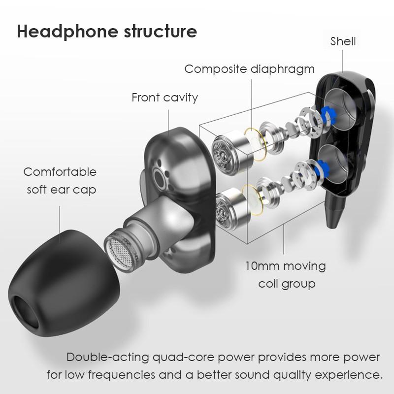Tai nghe nhét trong có dây 3.5MM hai loa âm trầm 4D có thể điều chỉnh âm lượng tích hợp mic tiện dụng