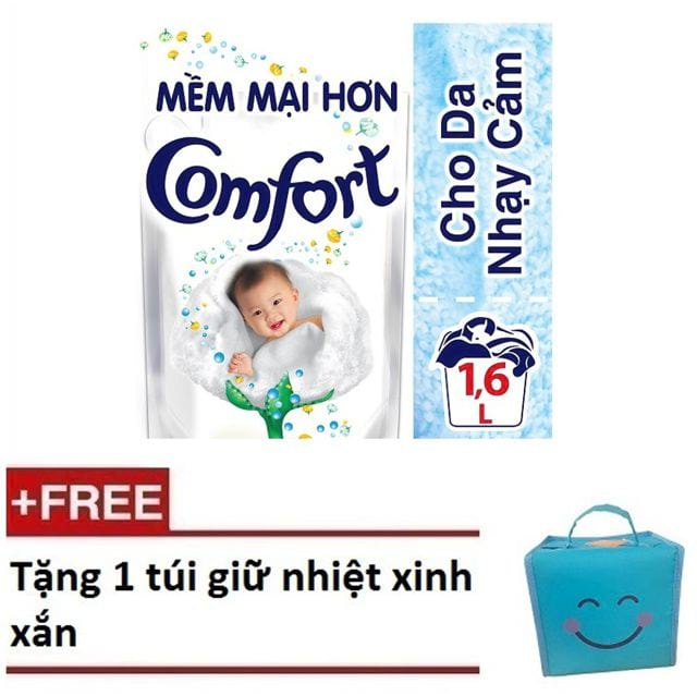 Nước xả vải Comfort Cho Da Nhạy Cảm túi 1.6L ( MSP 67434150) + Tặng 1 túi giữ nhiệt cao cấp