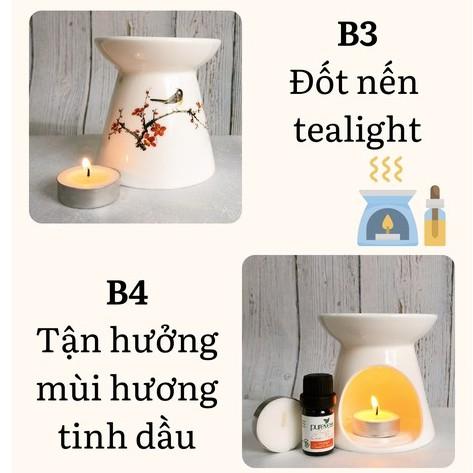 Đèn nến xông tinh dầu + Tặng tinh dầu Cam Ngọt PUREVESS 5ml