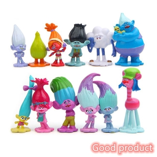 【In stock】 12pcs/lot Trolls Action Figure Poppy Simulation Model Kids Toys Children Gift Solid Doll Ornaments Cake Decoration