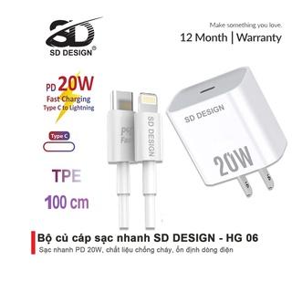 Bộ Củ Cáp Sạc Nhanh 20W chính hãng SD DESIGN HG 06 sạc ổn định an toàn cho điện thoại ip 6 đến 13 pro max thumbnail