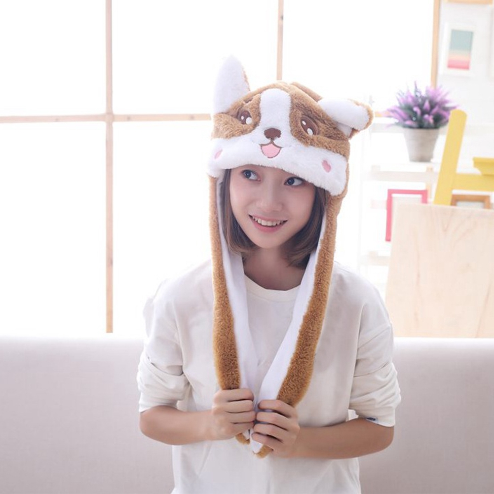 Pinching Hat Gifts Airbag Plush Toy Warm Move Ear Party Costume Ball Photography Prop Stuffed Lovely Cartoon Corgi Kids