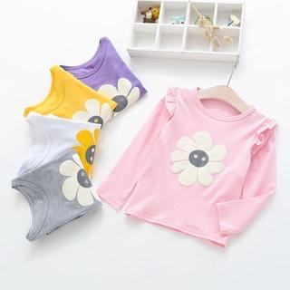 Áo thun trẻ em Cô gái 2-6 tuổi Mùa thu Dài tay In hoa Quần áo hàng đầu