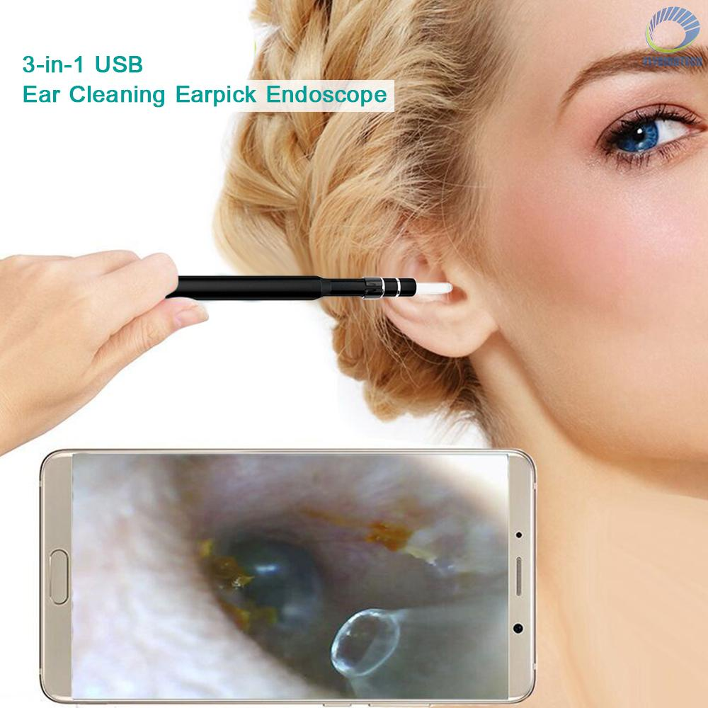 【FLY】3-in-1 USB Ear Cleaning Earpick Endoscope LED Light Multifunctional Borescope Inspection Camera 0.3MP Visual Ear Spoon Health Care Cleaning Tool...
