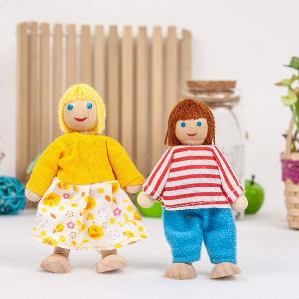6 Wooden Family Flexible People Dolls House Toys Dolls House People Characters