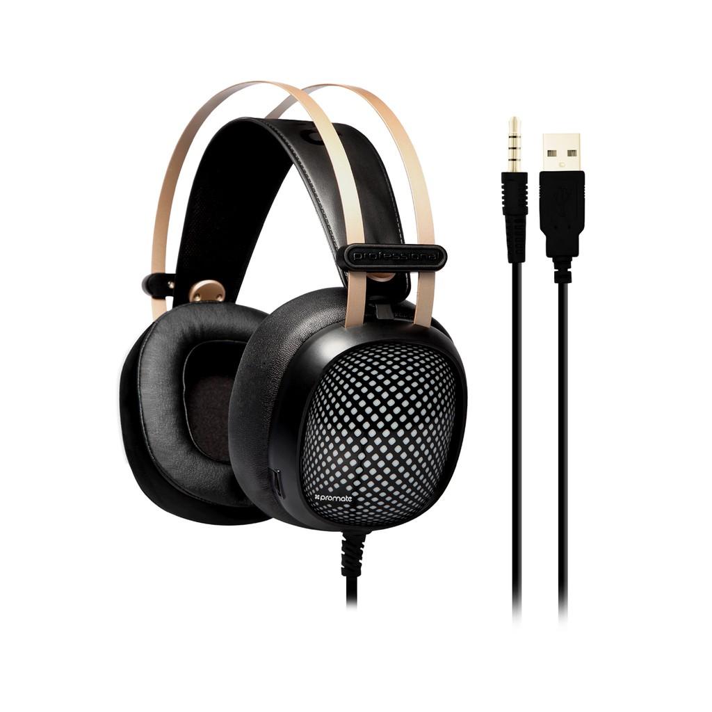 Tai nghe Over-Ear Promate Valiant kèm Mic & đèn LED (Đen)