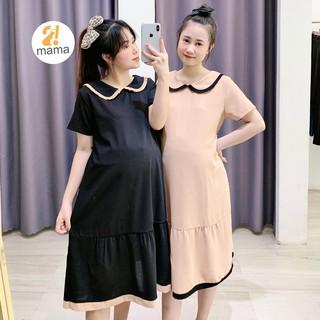 [Mã FAMALLT5 giảm 15% đơn 150k] Váy bầu thiết kế công sở dự tiệc mùa hè 2MAMA suông sơ mi pha màu đen trắng - V106 thumbnail
