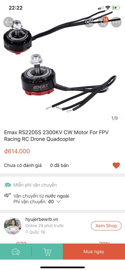 GIÁ HUỶ DIỆT Emax RS2205S 2300KV CW Motor For FPV Racing RC Drone Quadcopter