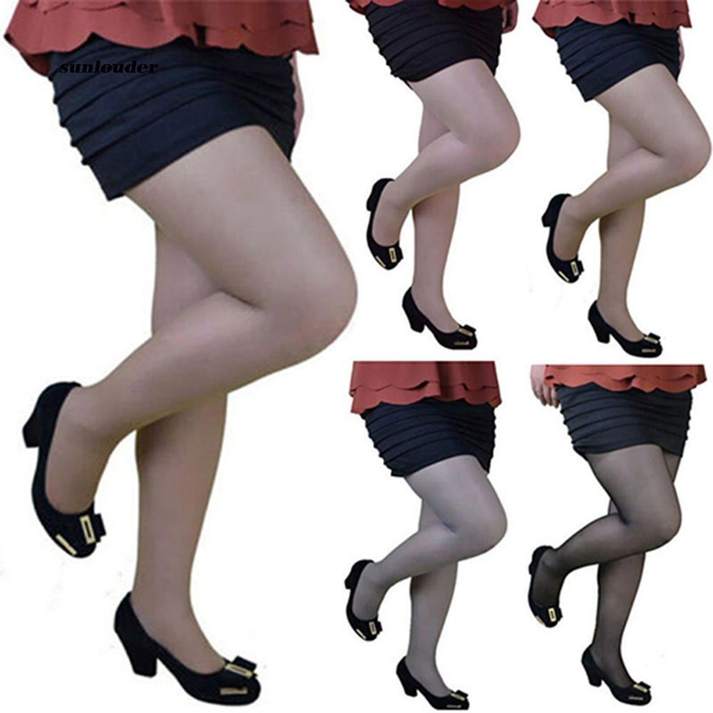 SNLD_Women's Casual Plus-Size Summer Pantyhose Flexible Nylon Glossy Thigh Stocking