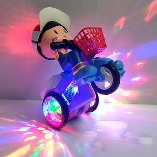 Đồ chơi Xe đạp bốc đầu, xoay 360 độ có đèn nhạc phát sáng thumbnail