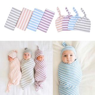 ❀INN Cotton Baby Blankets Printed Newborn Infant Sleeping Swaddle Muslin Wrap +Hat 2PCS