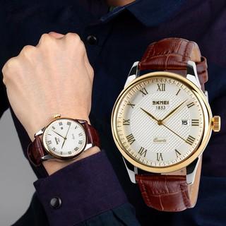 Đồng hồ nam dây da cao cấp SKMEI 9058 gold