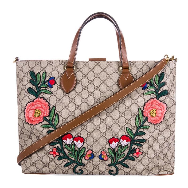 Gucci  Gucci กระเป๋าผู้หญิงสีกาแฟ GG jacquard กระเป๋าสะพายกระเป๋าช้อปปิ้ง 453705 K5ILG 8315