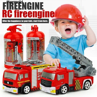 💖Rechargeable Lighting 4CH 1:58 RC Fire Engine Truck Vehicle Kids Toys