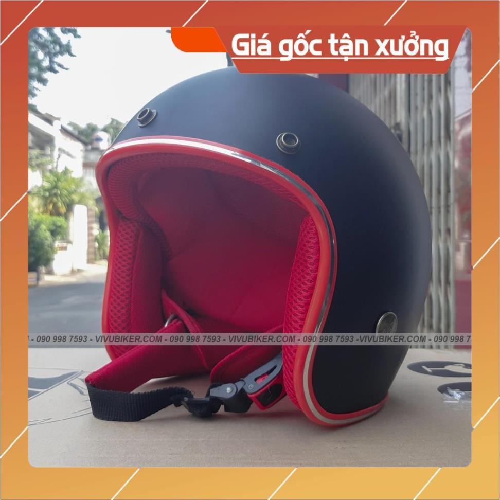 [Giống ảnh] Mũ bảo hiểm 3/4 đen lót đỏ cá tính - mũ 3/4 màu đen lót đỏ chính hãng bảo hành 12 tháng