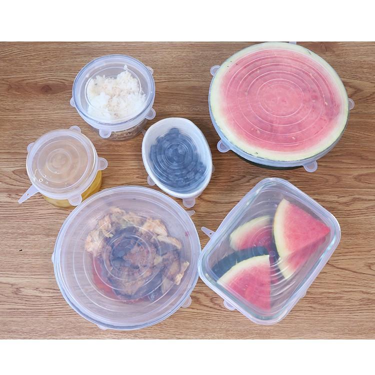 Bộ 6 Miếng Silicone Bọc Thực Phẩm - Nắp đậy màng Silicon bảo quản thức ăn