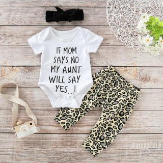 Mu♫-Newborn Infant Kids Baby Girl Summer Short Sleeve Tops Romper+Leopard Print Pants+Headband Clothes Set