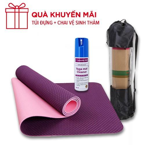 Combo Thảm yoga 6mm TPE 2 lớp + chai xịt vệ sinh ( kèm túi lưới)