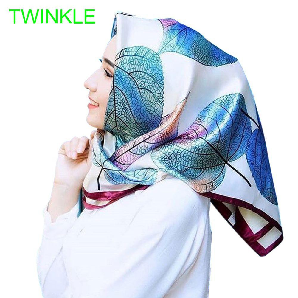 for Women Leaves Print Female Bandana Satin Large Hijab