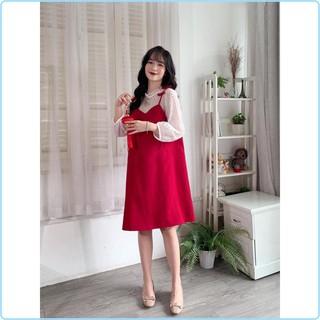 Váy bầu và sau sinh có khóa cho con ti màu đỏ mặc diện Tết công sở hay đi chơi đều sang