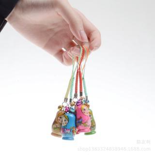 12PCS Nesting Dolls Key Chains Wood Matryoshka Russian Dolls Key Rings Charms
