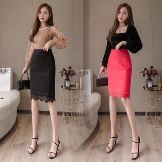 Chân váy bút chì nữ phối ren, chân váy công sở vải thun dày co giãn tốt màu đen có size đại