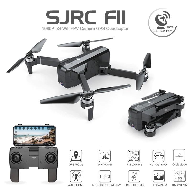 Máy bay SJRC F11 GPS, Camera 1080P, xoay góc 90 °, Follow Me, chụp ảnh bằng cử chỉ, gấp nhỏ gọn,bay 600m (Màu đen )