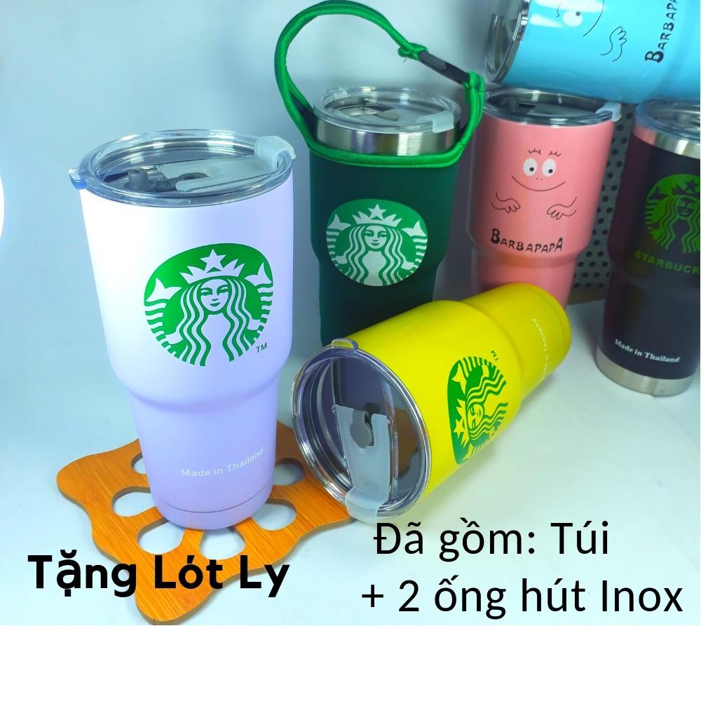 Ly Giữ Nhiệt (có Túi+2 Ống hút) Tặng 1 Lót ly Thái Lan 900ml MN22008 bình cốc giữ