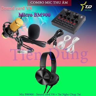 BỘ MIC THU ÂM BM900 SOUND CARD V8 TAI NGHE Bản v8 tiếng anh- Mic livetream bm900 sound card v8 với tai nghe chụp tai