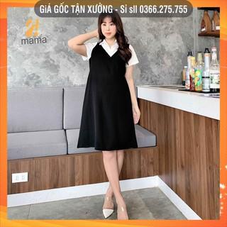 [BÁN SỈ] Đầm váy bầu công sở 2MAMA dáng suông thiết kế sơ mi pha màu đen trắng V44 thumbnail