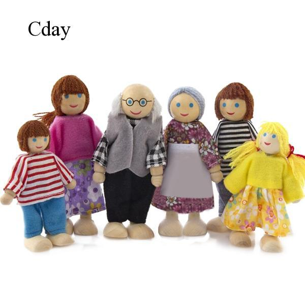 6x People Action Figures Wooden Dolls Pretend Family Members Doll Toys C871 Cday