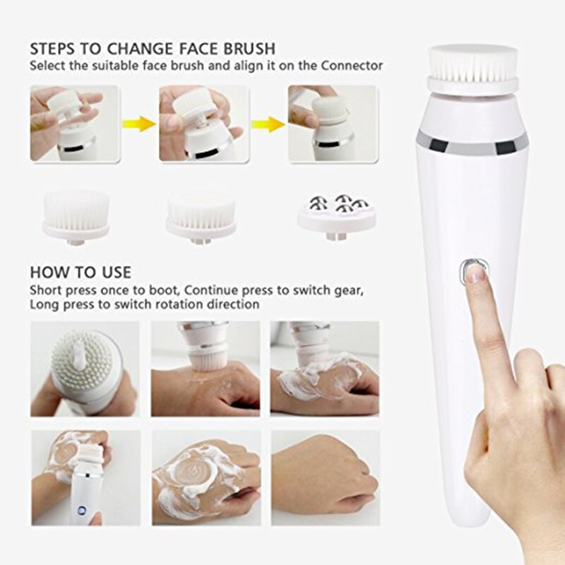 4 In 1 Face Cleansing Brush Sonic Vibration Facial Cleanser Silicone Pore Cleaner Exfoliator Face Washing Brush Roller Massager