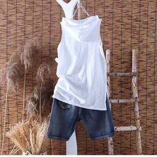 Áo Thun Cotton Sát Nách Dáng Dài Có Mũ Trùm Cá Tính Cho Nữ