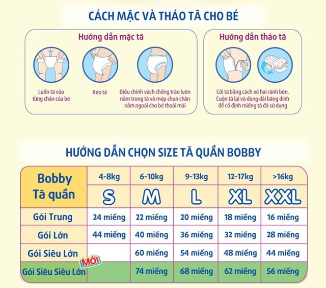 Hình ảnh [NHẬP MKB70K GIẢM 70K ĐƠN TỪ 1TR] [HCM][Đủ size] Tã quần siêu thấm Bobby hương trà xanh M60/L54/XL48/XXL44-6