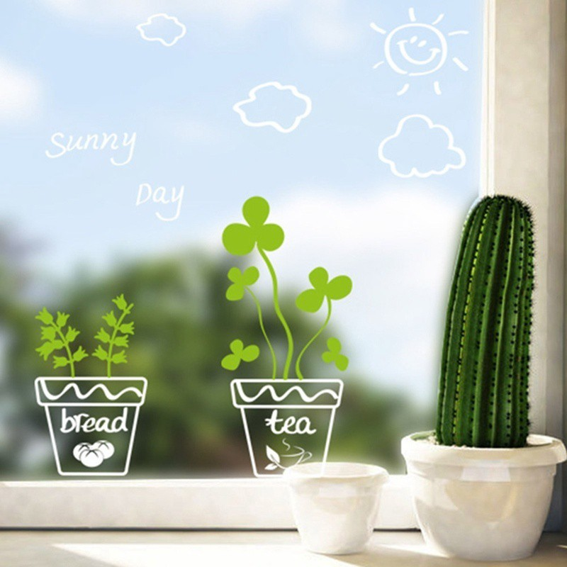 Miếng dán cửa kính hình chậu cây/mặt trời dễ thương