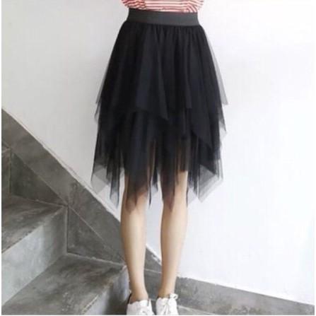 Chân Váy Xếp Ly voan đen trắng Chữ A Dáng ngắn Váy Thiết Kế Xẻ Quy