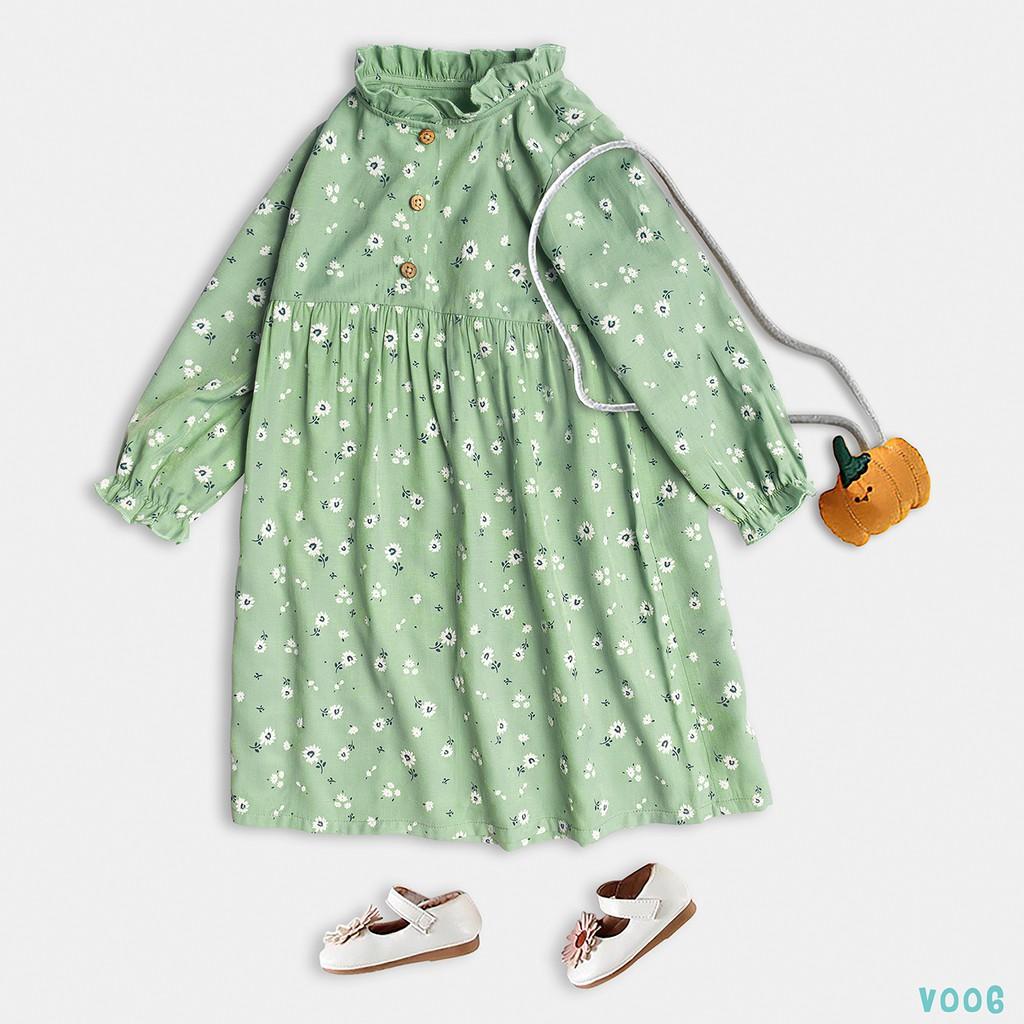 Váy Cho Bé Gái 2 Màu Dáng Xòe Dài Tay Họa Tiết Xinh Xắn Thời Trang Bello Land - Kid's Fashion