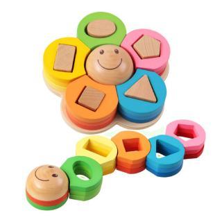 YOUN* Flower Building Blocks Geometric Shape Wooden Toy Education Baby Kids Puzzle Toys Unisex