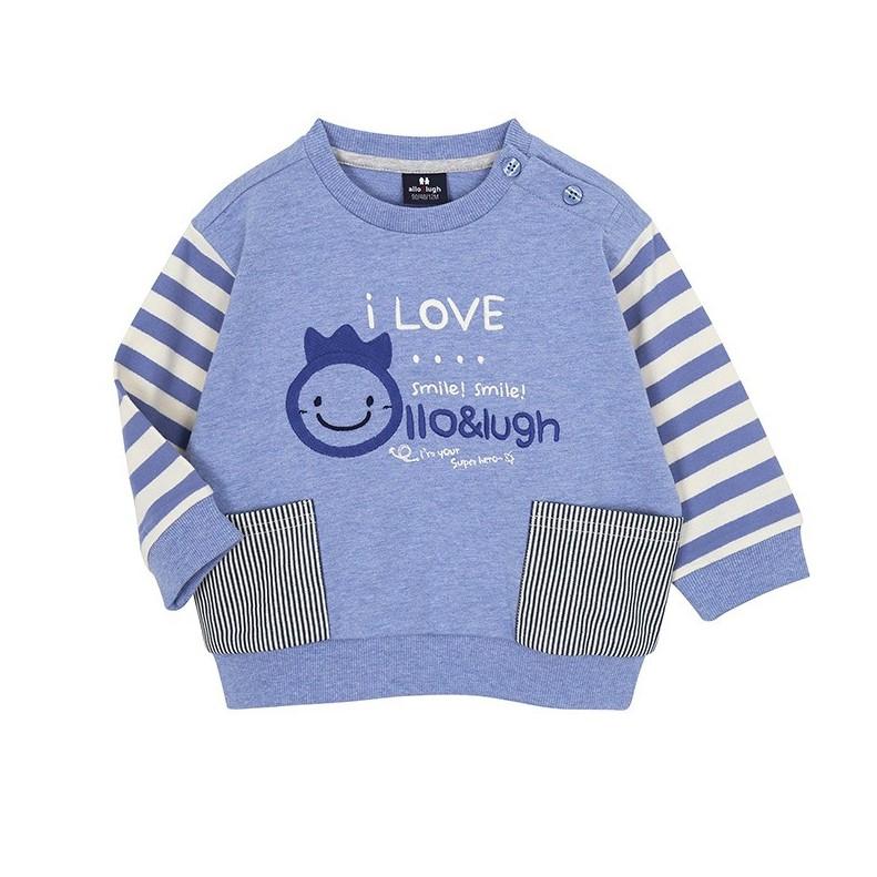 Áo xuất Hàn nỉ cá mỏng I Love Allo&Lugh xanh
