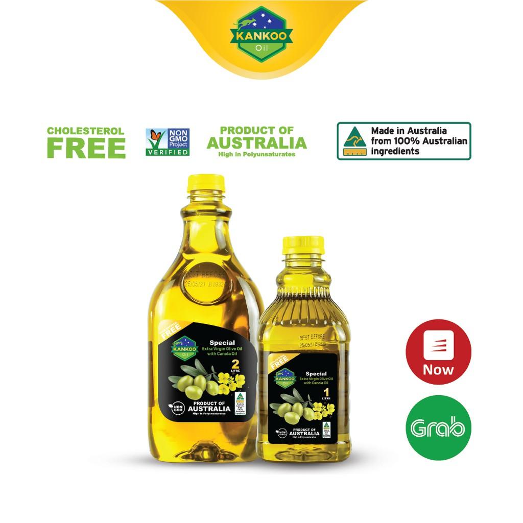 Combo 1 lít + 2 lít dầu Oliu hạt cải nhập khẩu Úc Kankoo - Dầu ăn ép cực lạnh nguyên chất chiên xào, nấu nướng an toàn