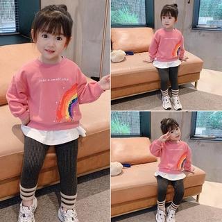 Autumn New Girls Plus Velvet Sweater Fashion Rainbow Printing Fake Two-piece Sweater