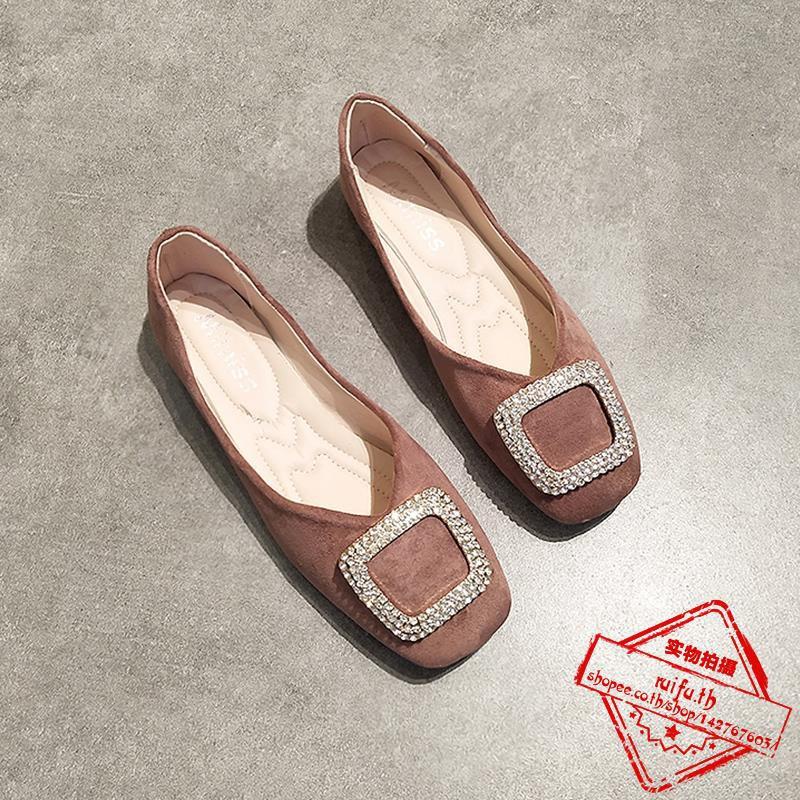 รองเท้าหญิงเดี่ยวปากตื้นแบนด้านล่างนุ่มย้อนยุครองเท้ายายลม rhinestones หัวเข็มขัดรองเท้า Peas สีชมพู