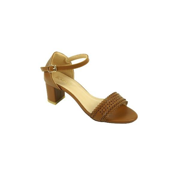 Giày sandal cao gót nữ 5cm SUNDAY - DV24 Nâu