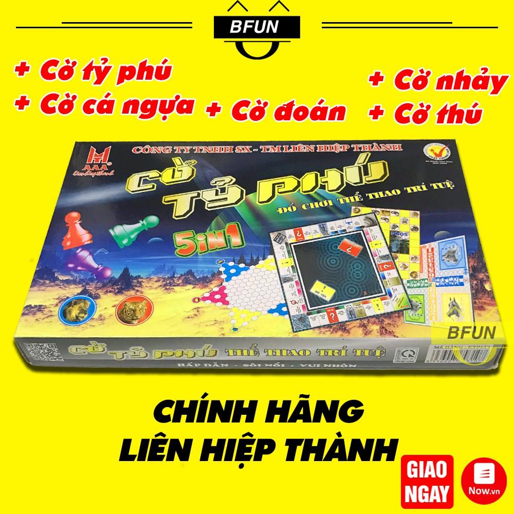 Bộ Cờ Tỷ Phú 5IN1 LIÊN HIỆP THÀNH Cao cấp 50x50: Cờ Cá Ngựa + Cờ Ti Phú Monopoly Việt Nam + Cờ Đoán + Cờ Nhảy + Cờ Thú