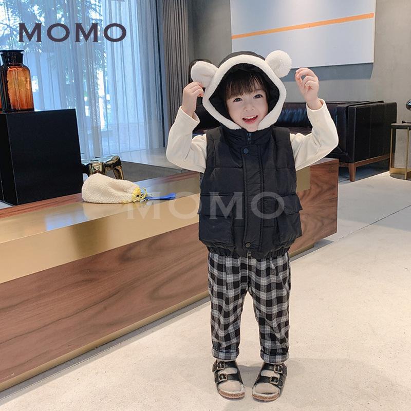 Quần dài cotton phối nhung kẻ sọc thiết kế xinh xắn cho bé từ 2-6 tuổi